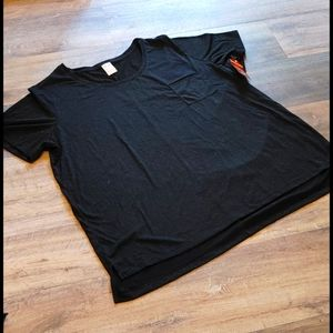 Short Sleeves Glitter T Shirt Black Plus Size NWT
